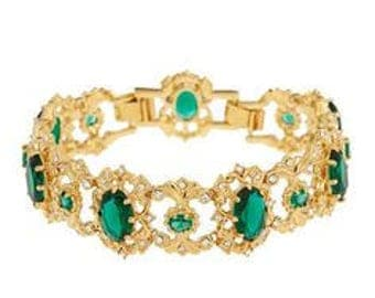 Jackie Kennedy Wide Emerald Bracelet - 24K GP with Crystals, Box and Certificate