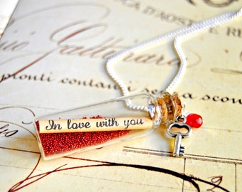 "Message in a bottle long necklace, ""In love with you"" necklace, bottle necklace, love message necklace - retro bottle necklace"