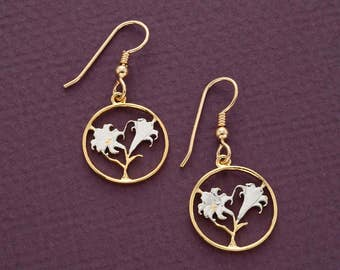 """Easter Lily Coin Earrings, Bermuda Ten Cents Easter Lily Coin Hand Cut, 14 Karat Gold and Rhodium Plated, 3/4"""" in Diameter, ( # 35E )"""