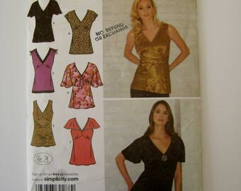 Simplicity 3918 Sewing Pattern Stretch Knit & Woven Pullover Top Sleeveless Flutter V Neck Tank Fitted Bodice Ties Size 6 8 10 12 14 UNCUT