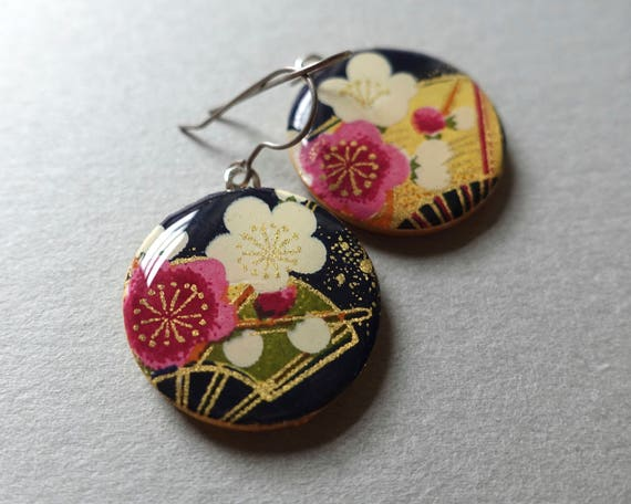 Sakura earrings, navy earrings, blossom earrings, cherry blossom earrings, cherry blossom jewelry, japanese paper jewelry, japanese paper