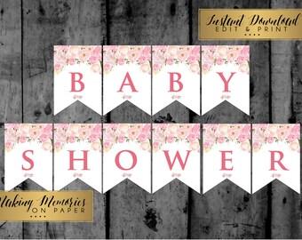 Pink Flower banner, floral banner, baby shower banner, bridal shower banner, edit yourself banner, editable banner, pink banner, girl banner