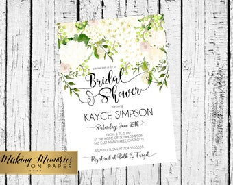 White hydrangea Bridal Shower Invitation, Watercolor Flowers Invitation, Floral Invitation. baby, Floral Invite, Flower Invite, hydrangea