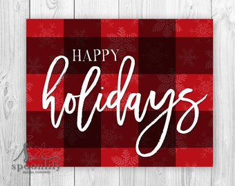 Happy Holidays Buffalo Plaid Art Print, Christmas Decor, Holiday Wall Art, Farmhouse Christmas Poster - Holiday Home Decor