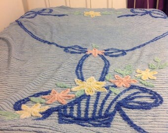 Vintage blue chenille bed spread