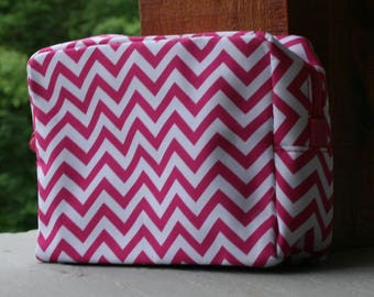 Monogrammed PInk Chevron Cosmetic Bag Personalized Makeup Case