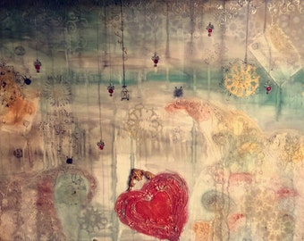 Mixed painting 'A heart in the storm'