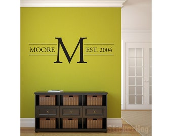 """Last Name Family Monogram Wall Vinyl Decal Graphic 32""""x10"""" Home Decor Family Crest"""