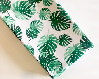 Tropical palms changing pad cover - emerald green mint beach resort fronds leaves - tropical nursery - watercolor - girl baby shower gift