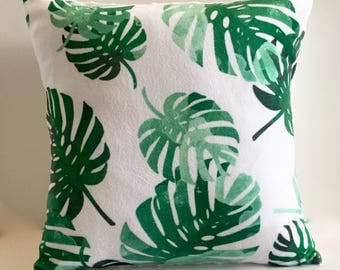 Tropical palms pillow cover - emerald green mint palm fronds leaves - desert beach tropical nursery - watercolor - gender neutral nursery