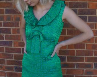 JEWEL Green 60's Hostess Dress Small