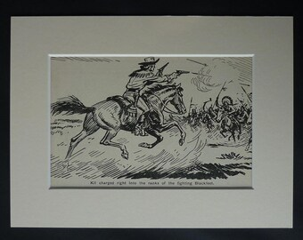 1950s Vintage Cowboys and Indians Print, Blackfoot Confederacy, Native American Indian Gift, Kit Carson Decor Available Framed Wild West Art