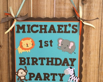 Jungle Animal Party Sign
