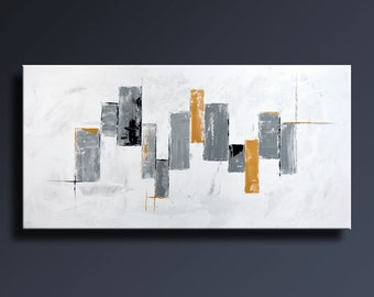 "48"" Large ORIGINAL ABSTRACT Black White Gray Gold Painting on Canvas Contemporary Abstract Modern Art wall decor - Unstretched- 08W"