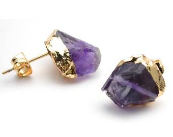 Raw Amethyst Gemstone Studs, Organic Earring, Gold Edged Studs Earring 1 Pair (GPAM-90002)