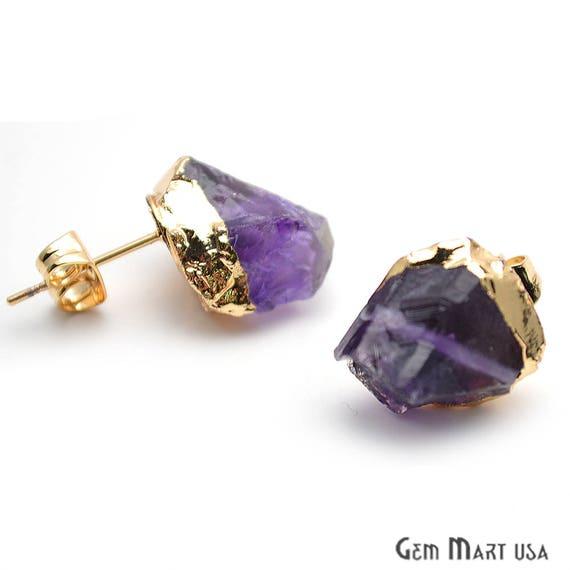 raw amethyst gemstone studs organic earring gold edged studs