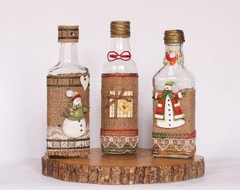 Set Of Three Christmas Bottles, Christmas Home Decor, Christmas Vase, Holiday Decor, Rustic Decoration, Christmas Gift, Family Gift