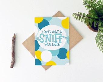 Funny New Baby Card - Funny Baby Shower Card - Sniff Your Baby Card - Boy Baby Shower Gift - New Mom Card - New Dad Card