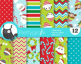 80% 0FF SALE Christmas digital paper, Santa Claus christmas papers commercial use, kawaii scrapbook papers, scrapbooking papers - PS828