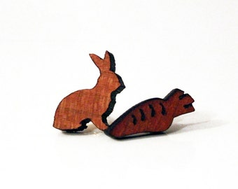 Rabbit and carrot studs, rabbit and carrot earrings, rabbit earrings, carrot earrings, lasercut wood earrings, asymmetrical earrings