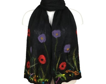 Long nuno felted silk scarf, black merino wool with floral detail, gift boxed