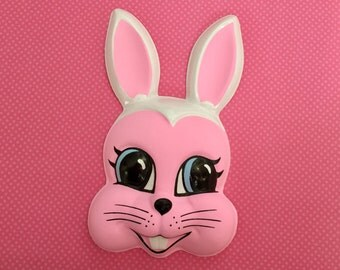 Plastic Easter Rabbit Head Cake Topper, Bunny Rabbit Face, Altered Art, Mixed Media, Kawaii, Vintage Easter Kitsch