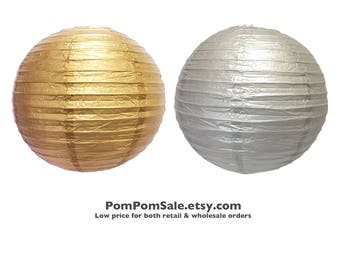 SALE - Gold / Silver Paper Lantern - Metallic Gold and Silver color - Fast Shipping - Wedding / Baby Shower / Birthday Party / Nursery Decor