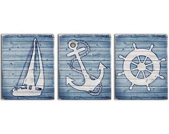 Rustic Nautical Decor, Rustic Anchor Art, Rustic Ships Helm, Blue and White Rustic Decor, Baby Boys Nautical Nursery Art Rustic Bathroom Art