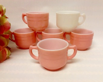 "Vintage Hazel Atlas ""Little Hostess"" Pastel Pink Kiddie Ware Cups (5), (1) Sugar Bowl, 1950s Collectible Child Gift/Replacements/Tea Set"