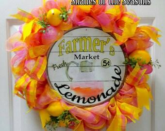 Summer Wreath, Lemonade Mesh Wreath, Farmers Market Wreath, Spring Wreath, Mesh Wreath