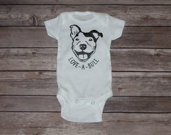 Love-A-Bull | Pittbull | Short Sleeve Baby Bodysuit