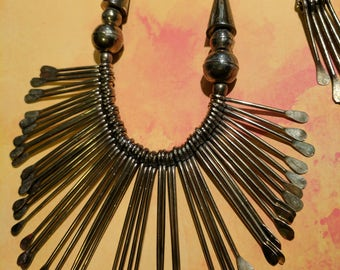 Vintage Brass Necklace and Earring Set