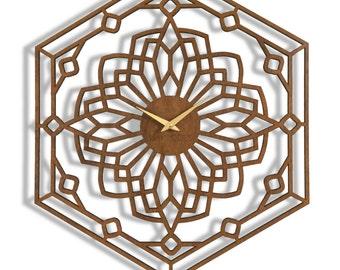 "18""x 22"" Foxwood Wall Clock. Large wall clock, Laser Cut, modern, Boho Chic, decorative, functional art"