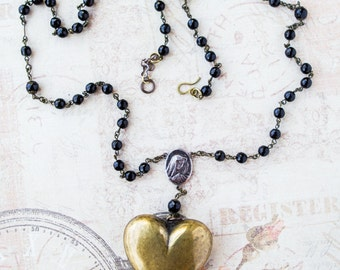 Puff Heart Black Glass Rosary Chain Religious Medallion Long Necklace