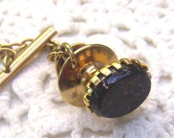 Vintage Black/Gold Confetti Tie Tack...Lapel Pin...Black Stone...Gold Flecks/Sparkles....Wedding..Business...Formal...Lapel Pin
