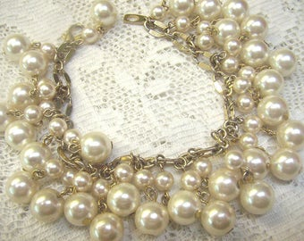 Sale...Large Vintage Pearl Cha Cha Style Bracelet... Faux Pearl Dangles...Gold Link Pearl Bracelet...Wedding Pearls