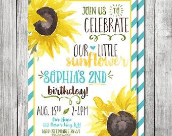 Sunflower Birthday Invite - Fall Birthday Invite - 5x7 JPG DIGITAL FILE (Front and Back Design)