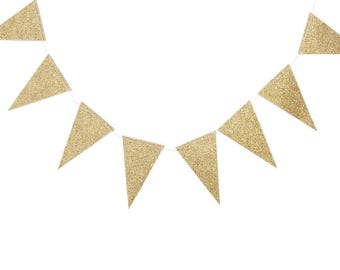 Fancy Collection Mini Pennant Banner | My Mind's Eye Paper Goods | Pennant Banner | Gold Party Decor | Gold Glitter Banner | Bridal Shower