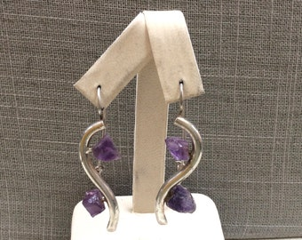 Vintage Handmade Sterling Silver Earring With Purple Amethyst!!!