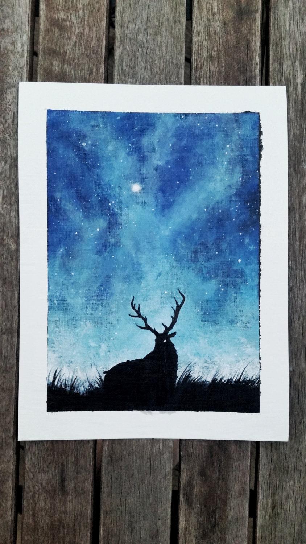Deer Painting Deer Canvas Space Painting Space Canvas