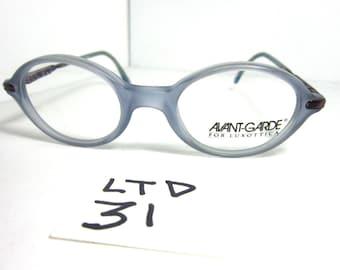 Vintage 90s AVANTE GARDE For Luxottica Blue Small Size Eyeglass Frame (petite fit) (LTD-31)