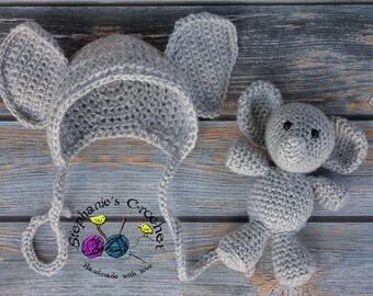 Crochet Newborn baby elephant bonnet & elephant set, elephant, crochet Newborn photo props photography boy/girl- Made to order