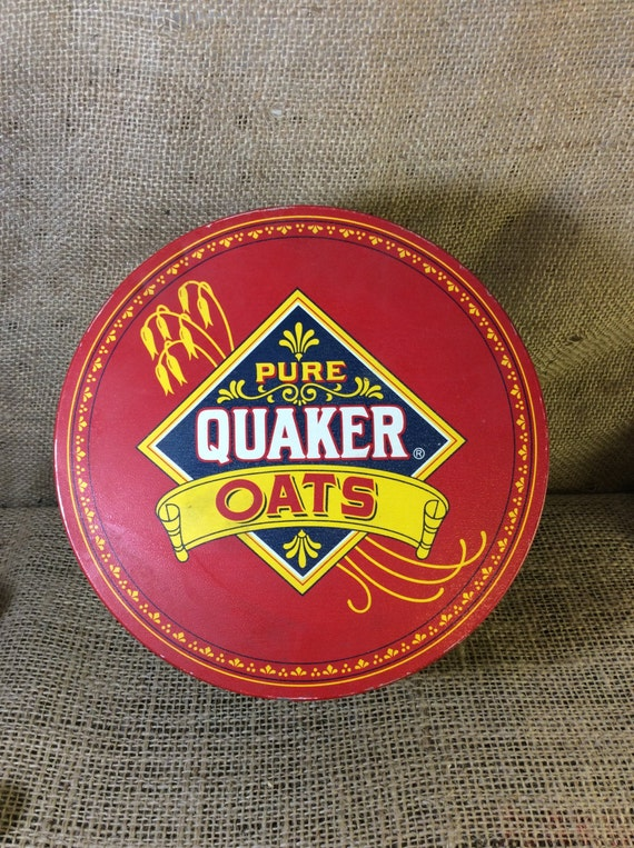 Vintage Quaker Oats tin, vintage tin, tin collector, limited edition Quaker Oats round tin, colorful vintage round tin, 1983 Quaker Oats