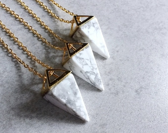 Marble Point Pyramid Necklace - White Howlite Turquoise, Gold Triangles, Geometric, Link Chain, Greyscale, Minimal, Pendulum, Elegant