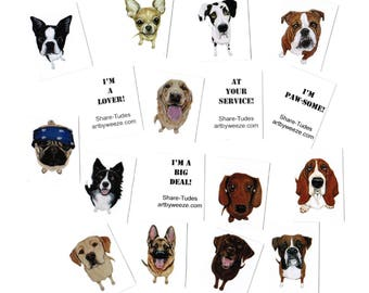 10 Dog Cards, Mini Cards, Note Cards, Tiny Cards, Dog Breed Cards, Dog Art, Stocking Stuffers, Funny Quotes, Lunch Box Notes, Small Cards