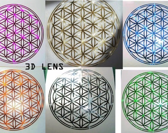 3d Lens Flower of Life vinyl decal, various colours