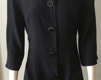 Vintage Gianfranco Ferre Black Silk Blouse Made In Italy