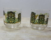 Set of 2 Retro Owl glasses from the 70s, Libbey, vintage glasses