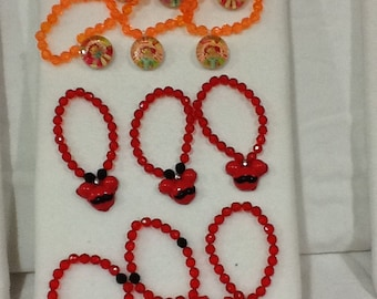 Glass Beads Bracelet with Character Charms Set of 6