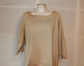 Sz 2X 18 20 - Metallic Knit Top Blouse = Plus  Size 2XL XXL - SML Sport - 3/4 Sleeve - Boatneck -  Pullover Sweater - Dress it Up or Down!